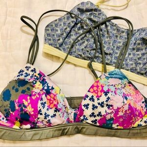 2 Victoria's Secret silky patterned bralettes